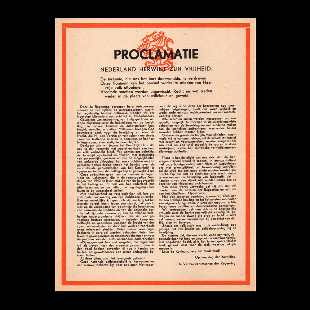 Proclamatie Nederland herwint zijn vrijheid