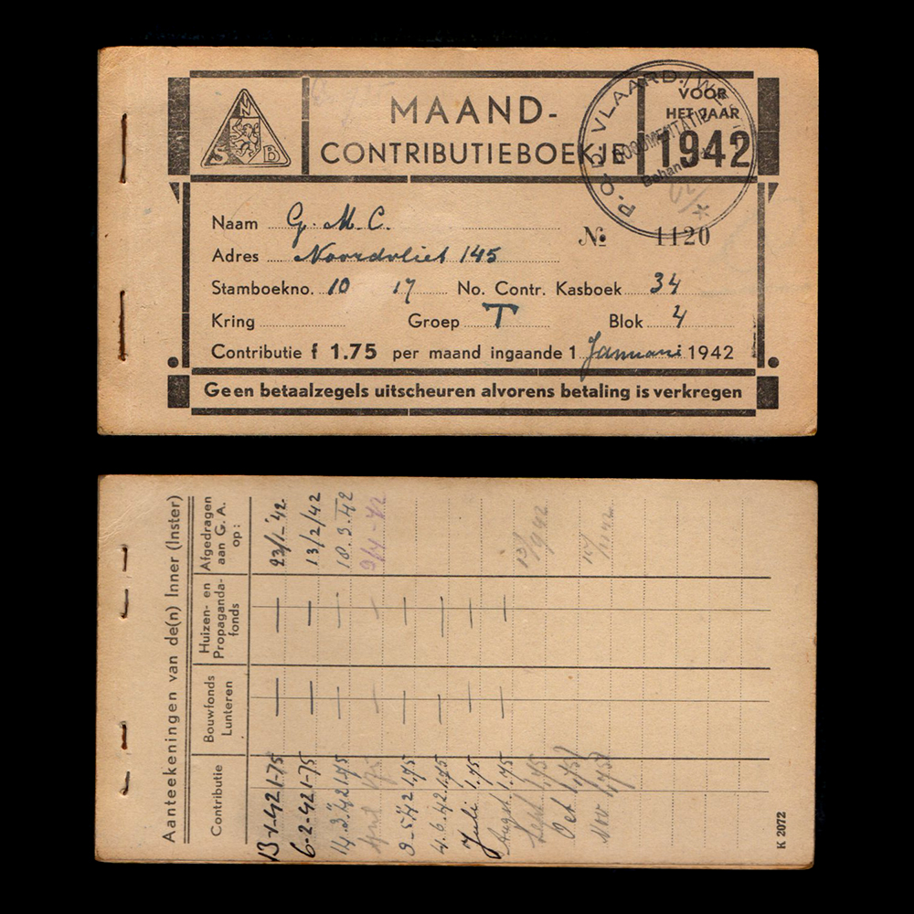NSB Maand Contributieboekje 1942