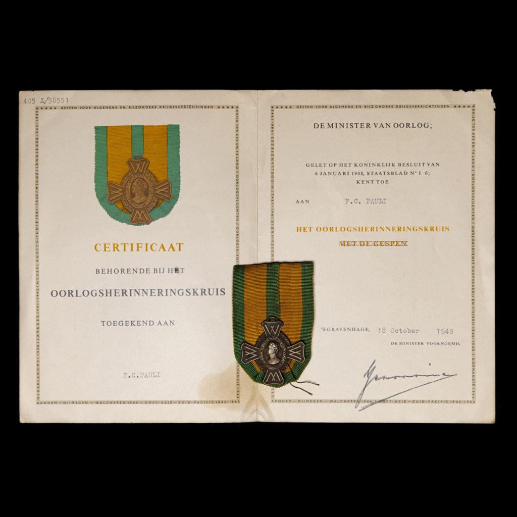 Oorlogsherinneringskruis F.C. Pauli – Koopvaardij