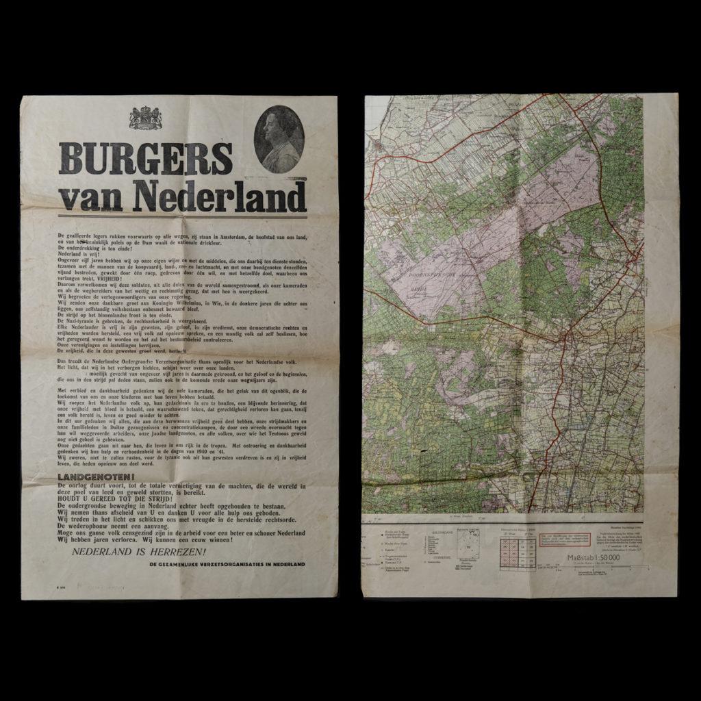Affiche gedrukt op een Duitse stafkaart uit 1940