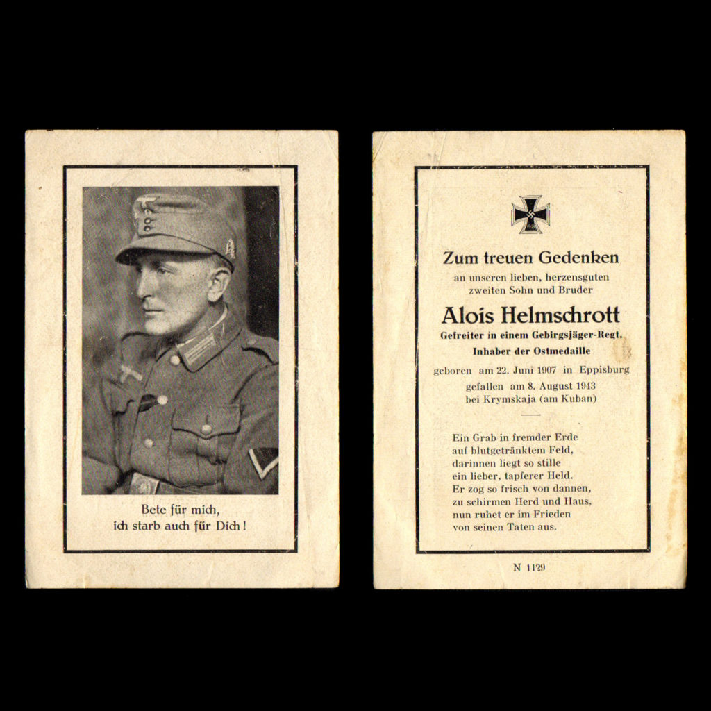 Sterbebilde Alois Helmschrott