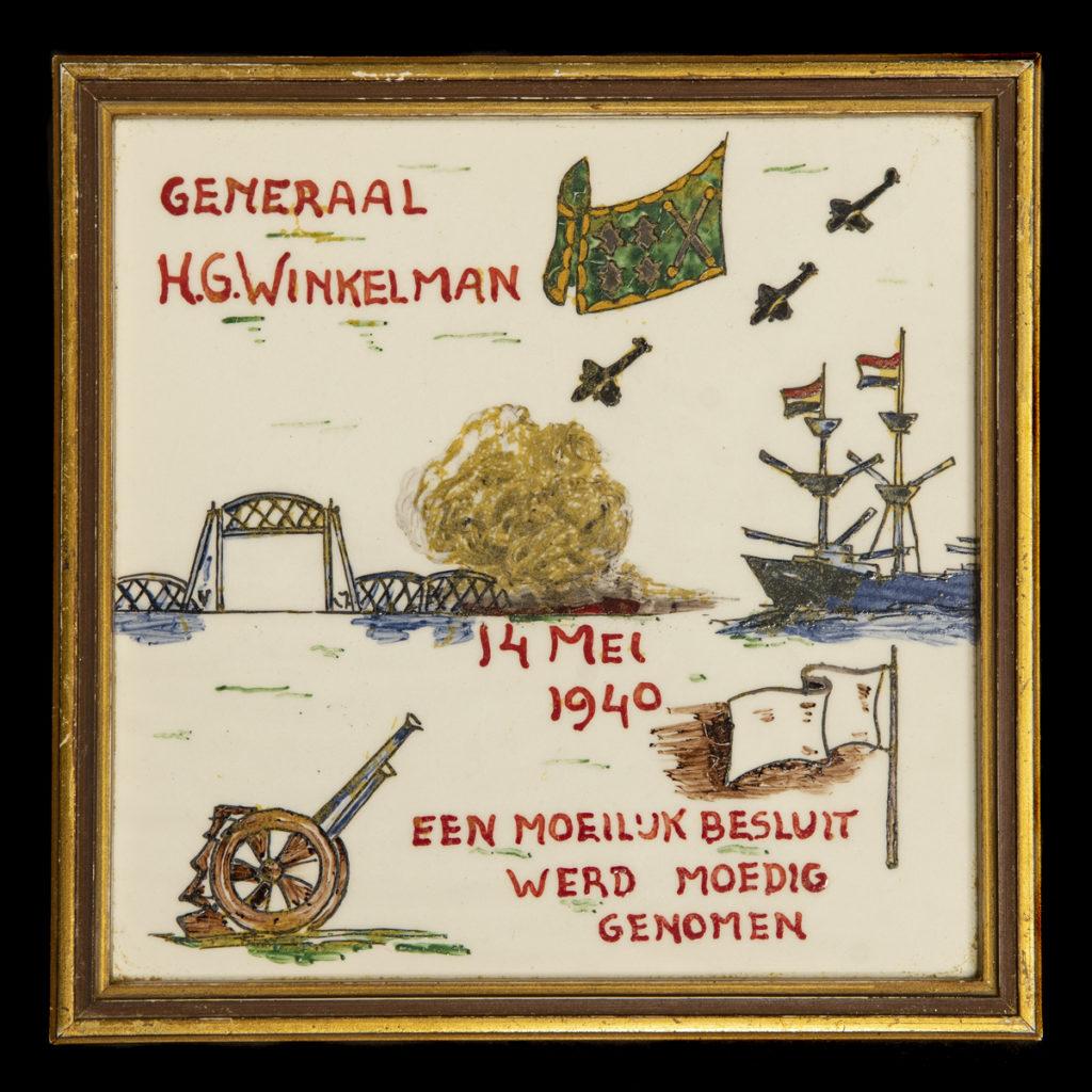 Generaal H.G. Winkelman 14 mei 1940 Een moeilijk besluit werd moedig genomen – ingelijst door A.J. van Dorp, Hoogstraat 207 Vlaardingen
