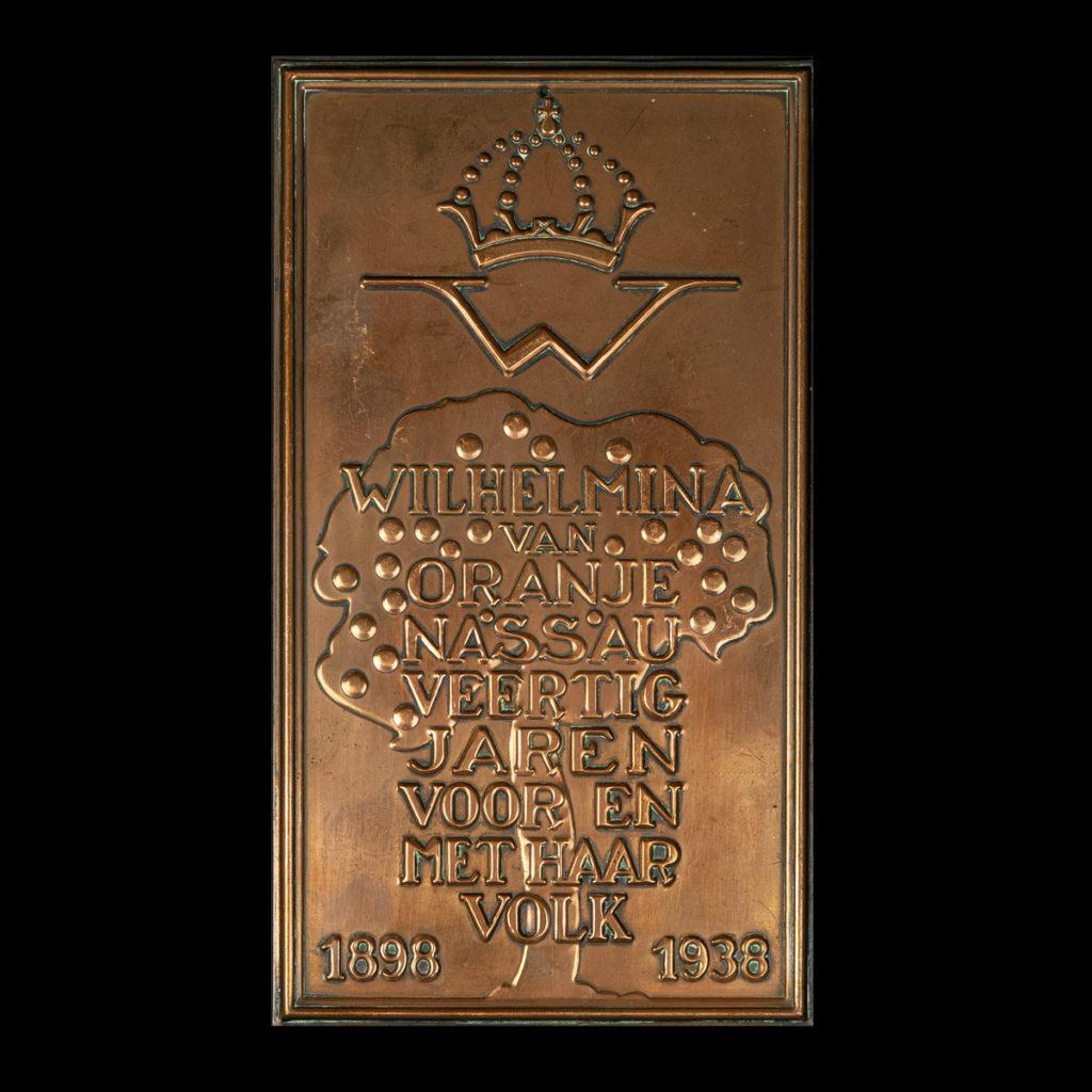 Herinneringsplaquette 4 jaar Koningin Wilhelmina