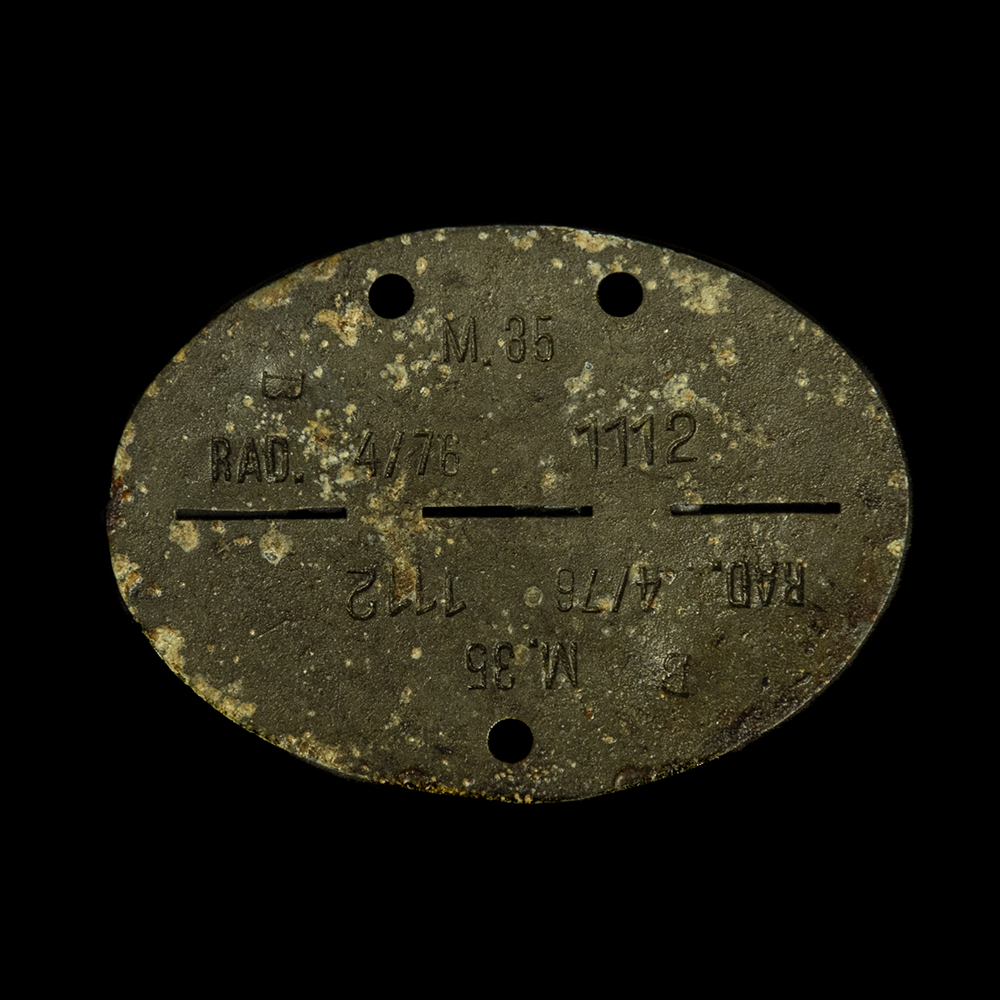 Erkennungsmarke M.35 B RAD 4/76 1112