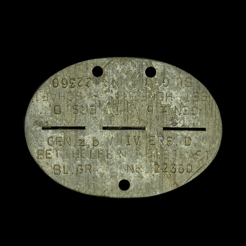 Erkennungsmarke GEN. z.b.V. IV ERS.D. BET HELFERINNENSCHAFT BL.GR. NR 22360