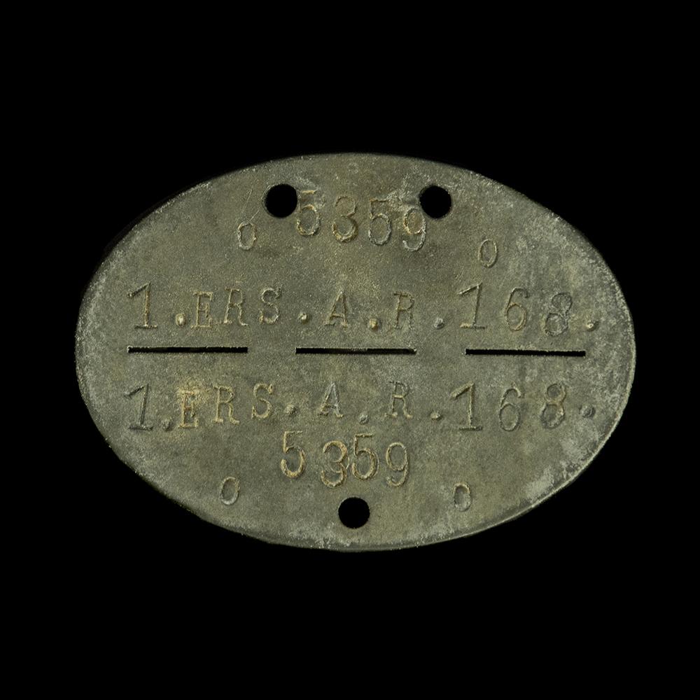 Erkennungsmarke o 5359 o 1. ers. A.R. 168.