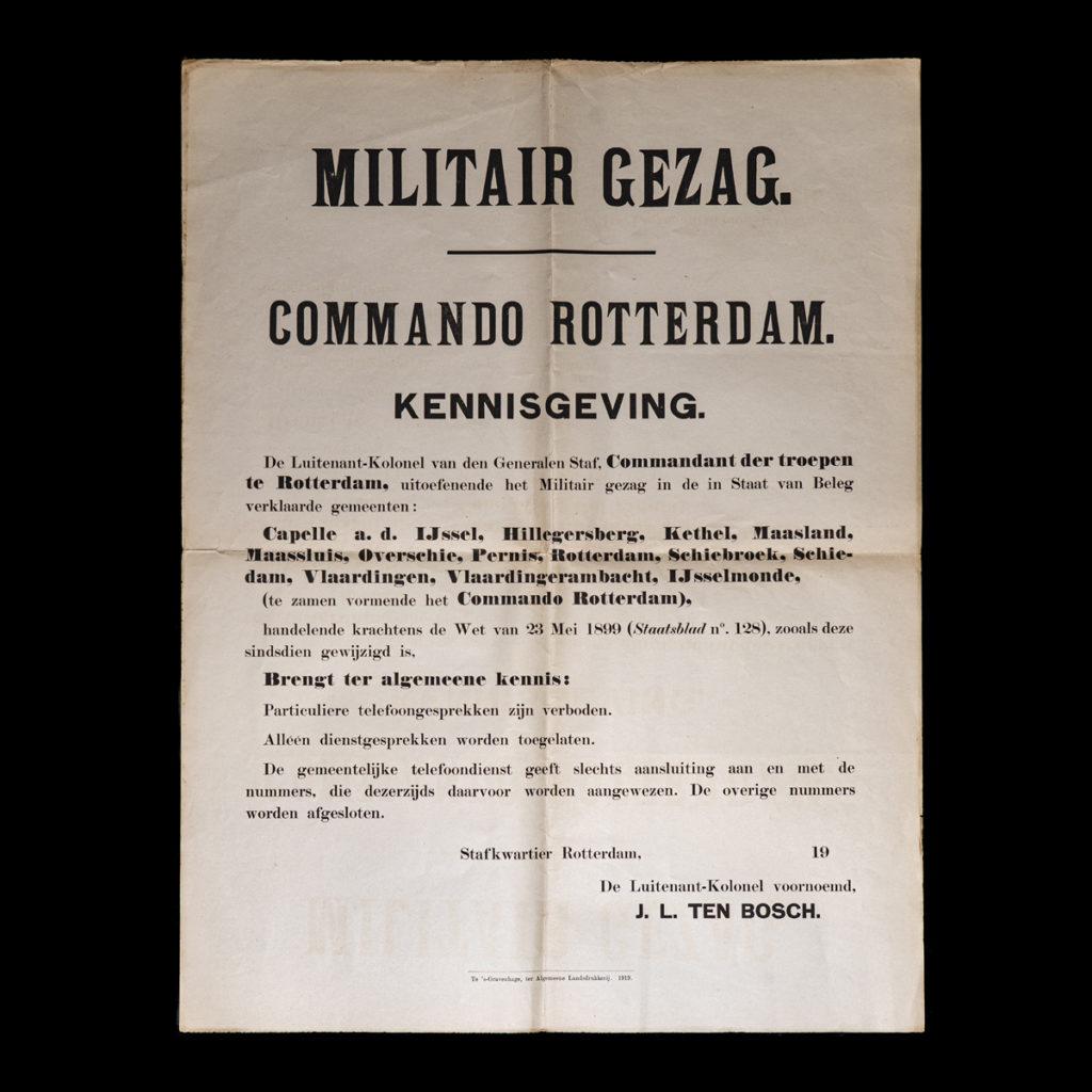 Affiche Militair Gezag Commando Rotterdam omstreeks 1939