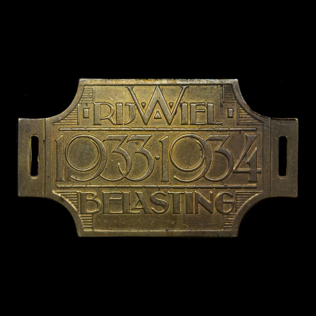Rijwiel Belastingplaatje 1933-1934