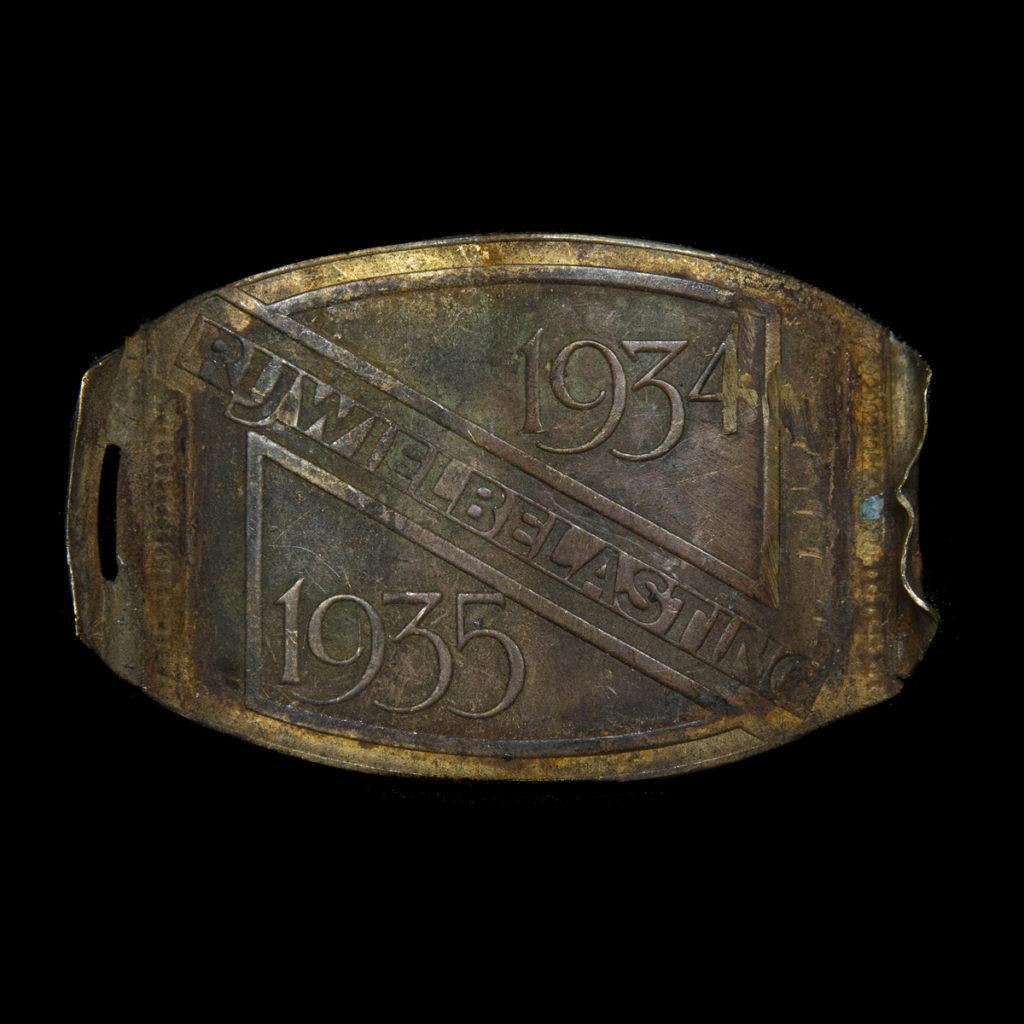 Rijwiel Belastingplaatje 1934-1935