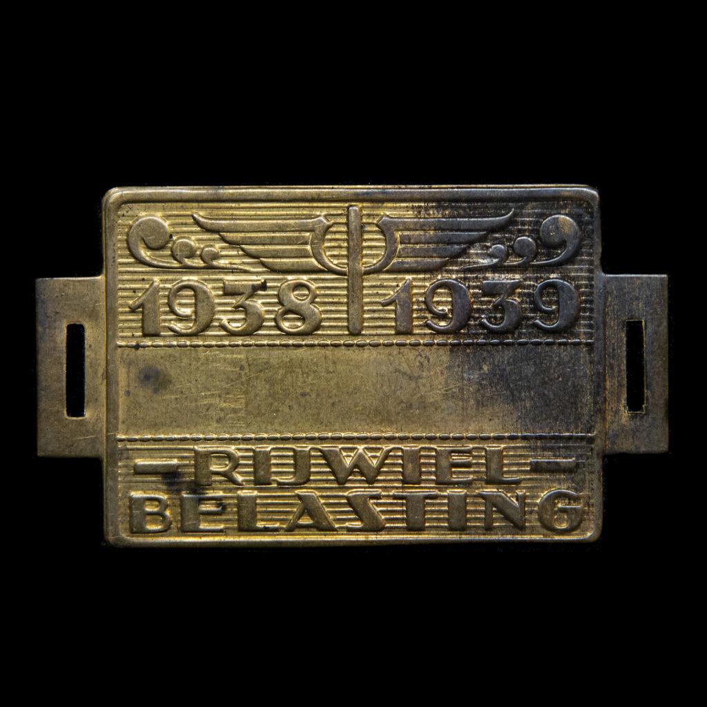 Rijwiel Belastingplaatje 1938-1939