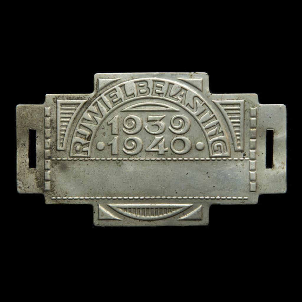 Rijwiel Belastingplaatje 1939-1940
