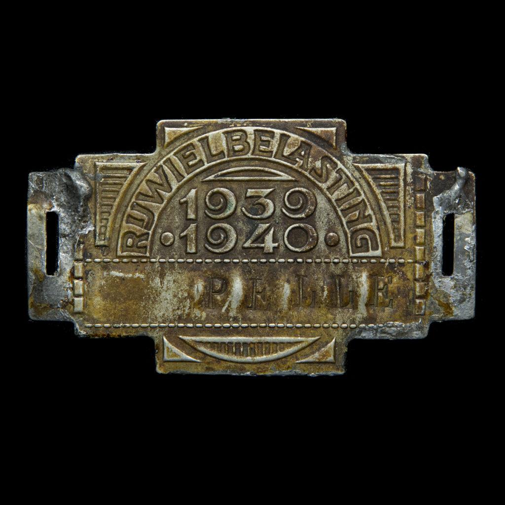 Rijwiel Belastingplaatje 1939-1940 'PELLE'
