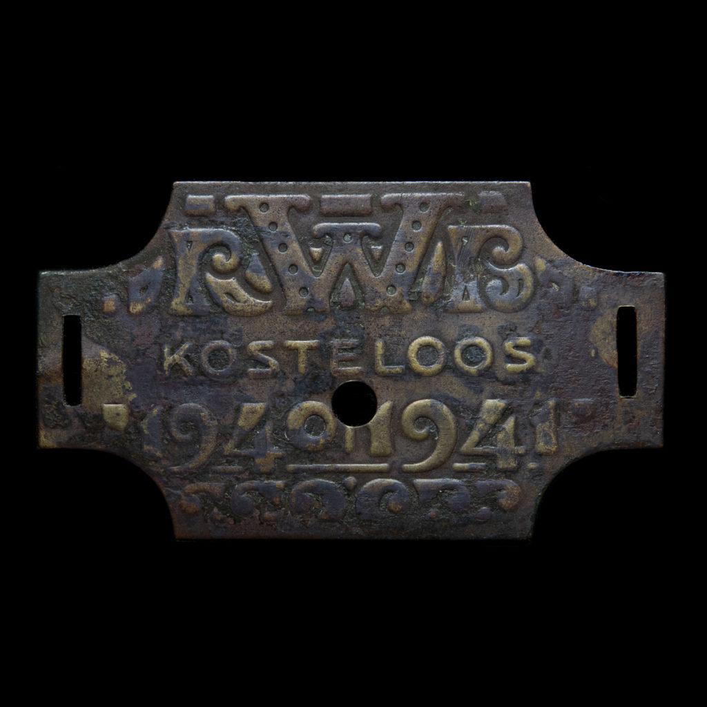 Rijwiel Belastingplaatje 1940-1941 'Kosteloos'