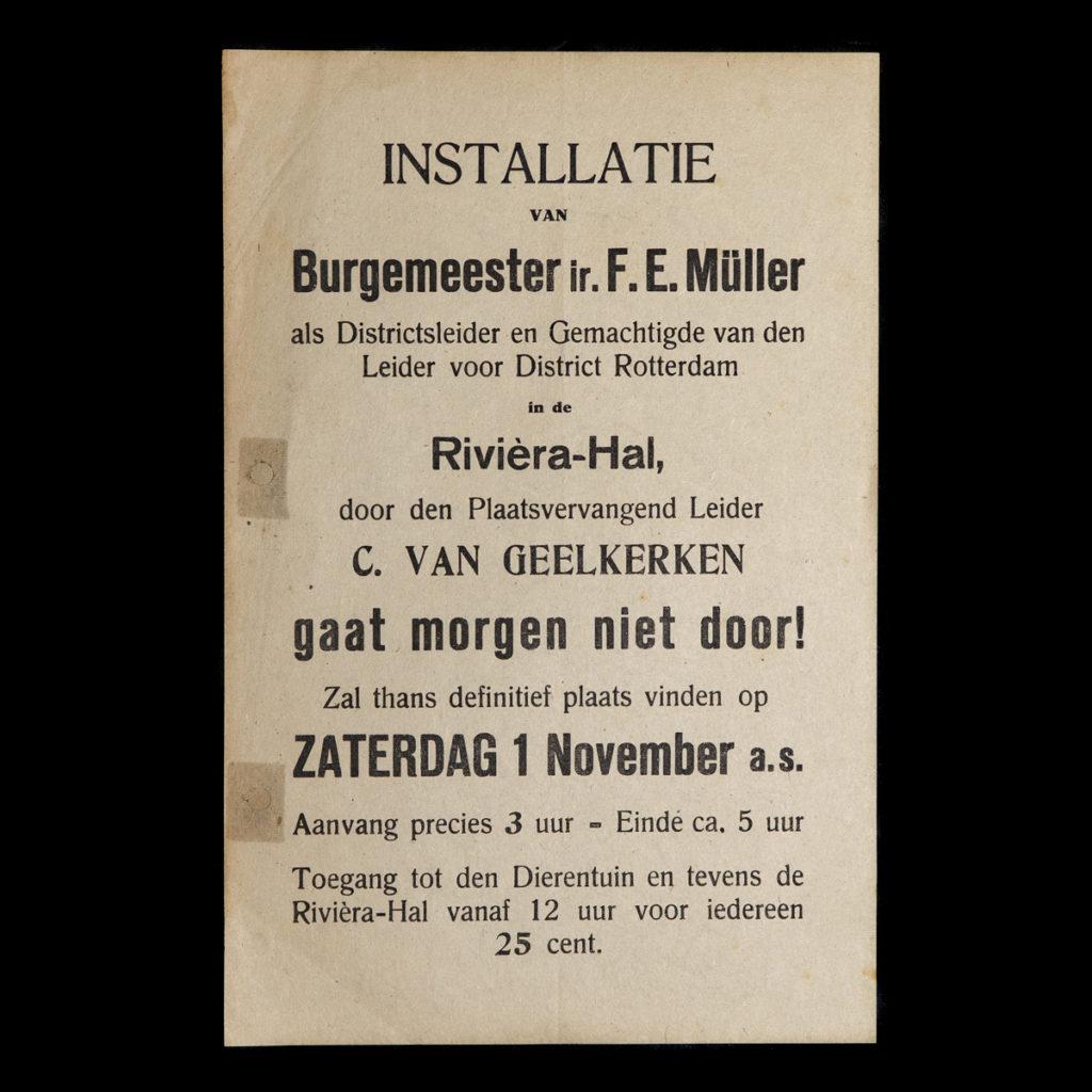 Pamflet Installatie Burgemeester ir. F.E. Müller Rotterdam