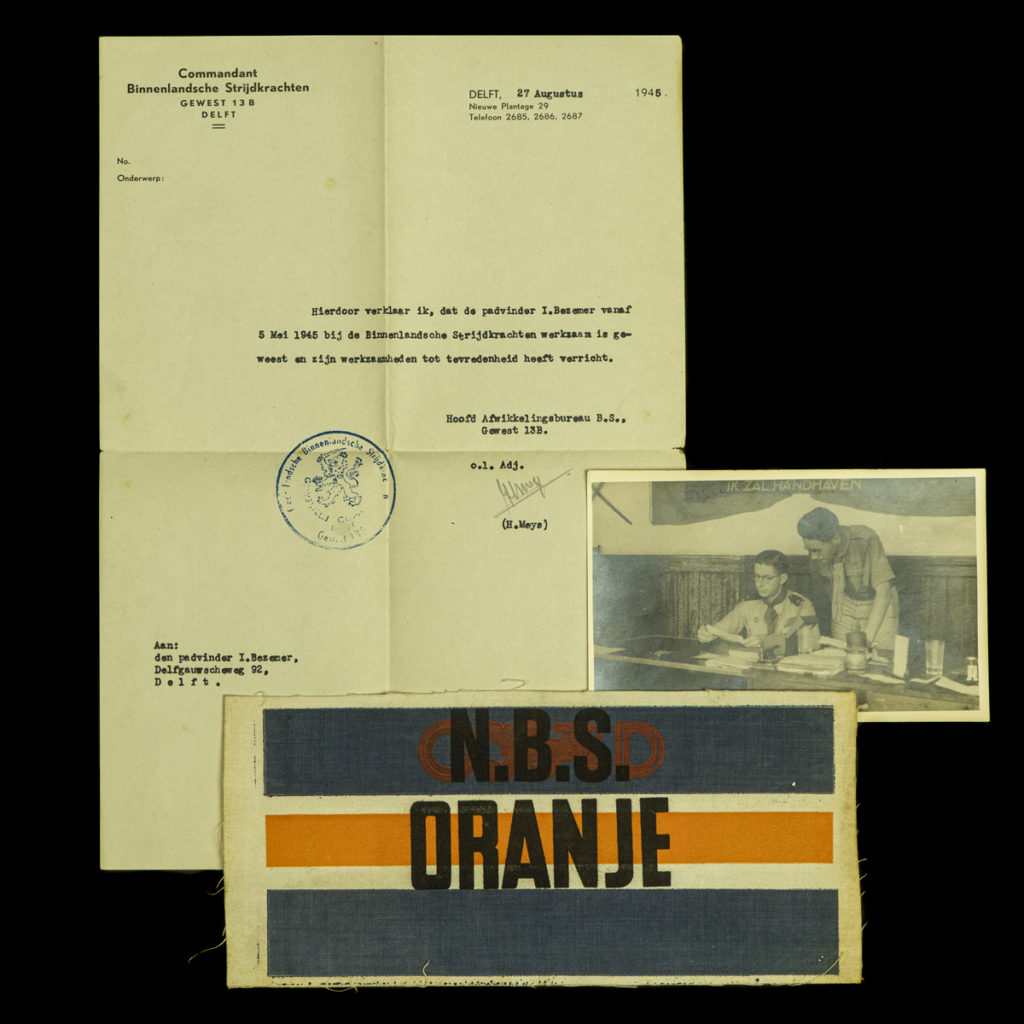 BS document en armband padvinder I. Bezemer te Delft