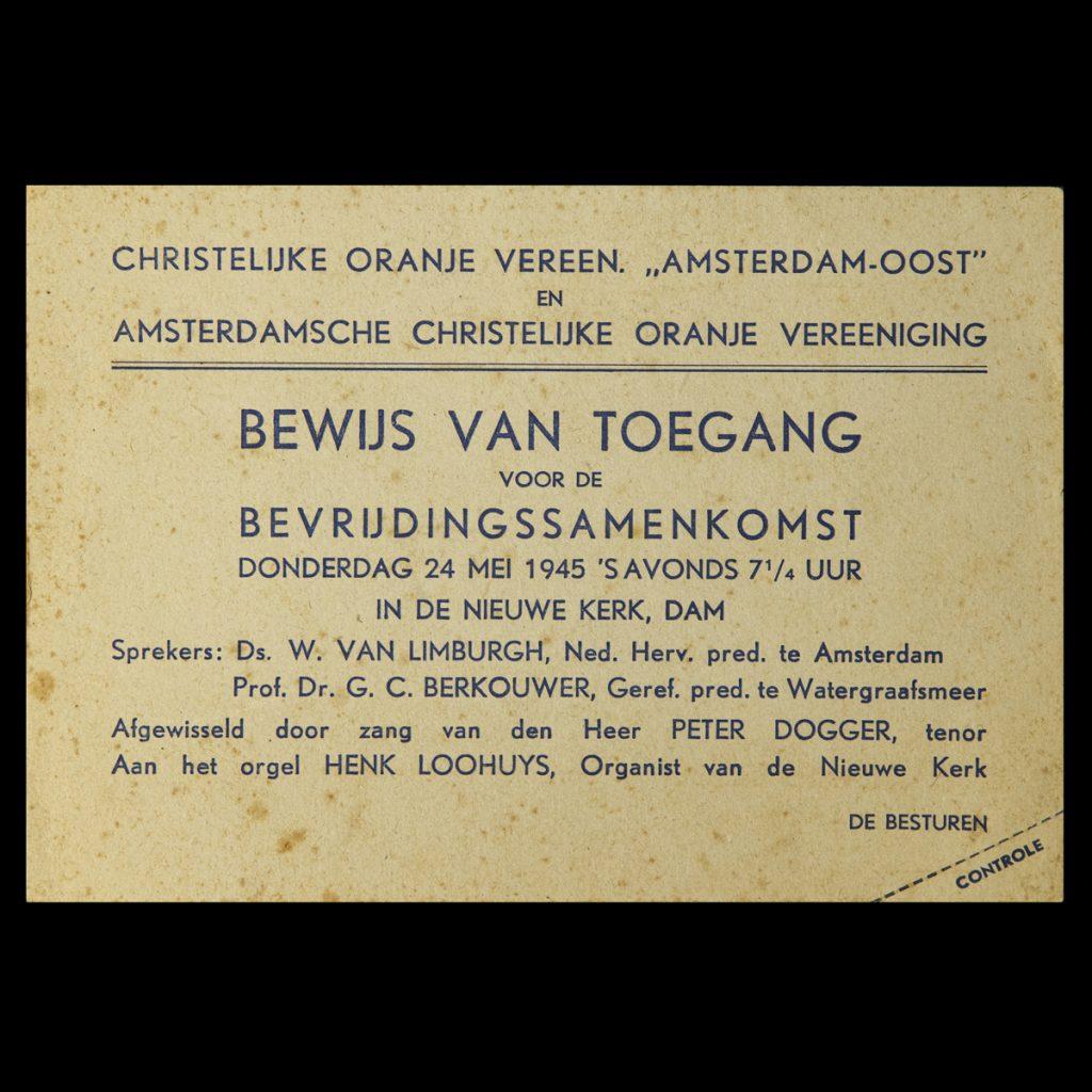 Bewijs van Toegang voor de Bevrijdingssamenkomst Donderdag 24 mei 1945