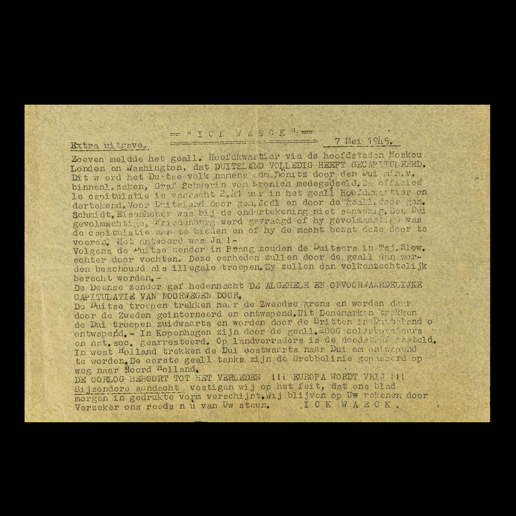 ICK WAEK Extra Uitgave 7 Mei 1945