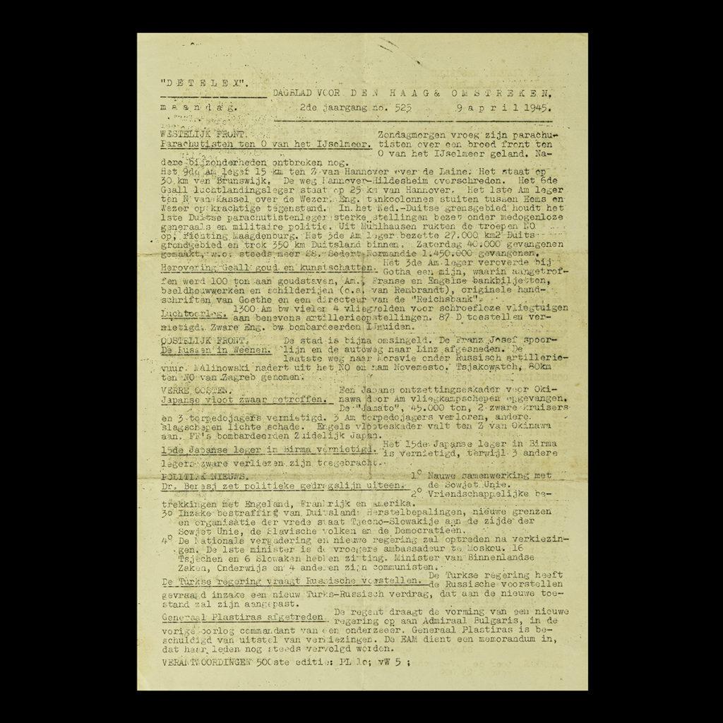 De Telex 9 April 1945