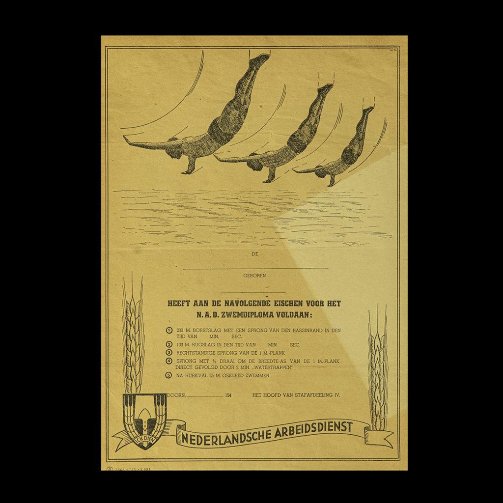 Zwemdiploma Nederlandsche Arbeids Dienst