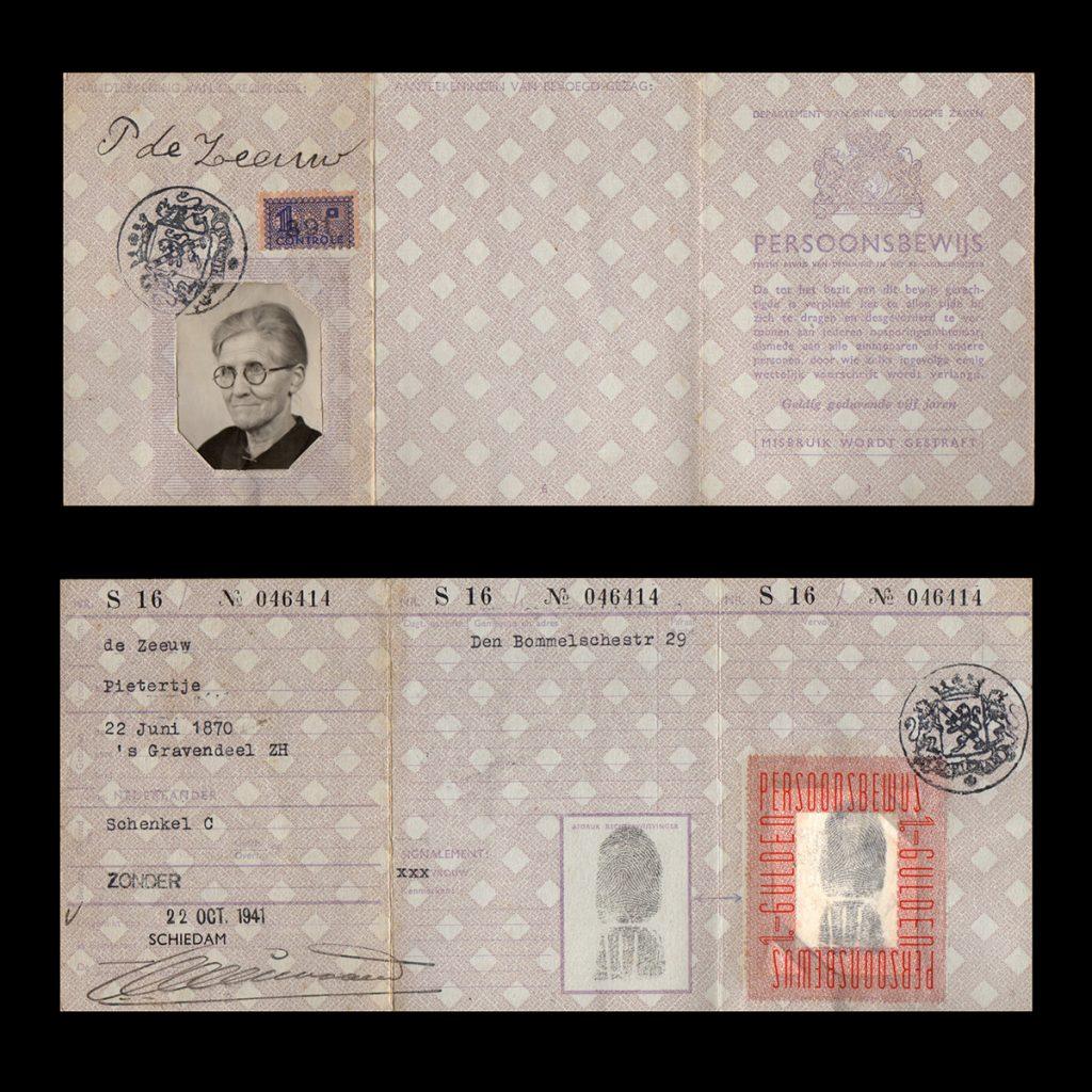 Persoonsbewijs P. de Zeeuw Schiedam