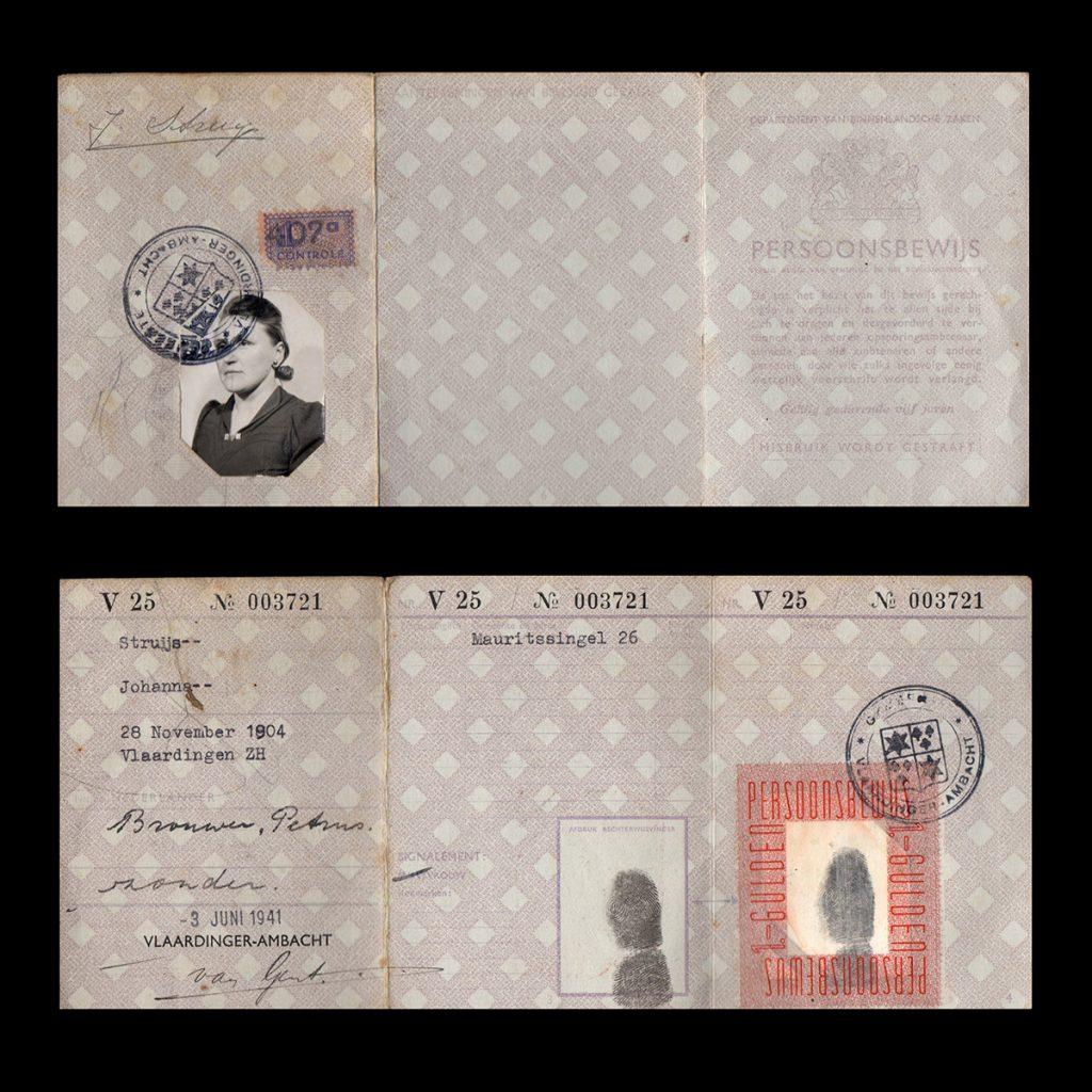 Persoonsbewijs J. Struijs Vlaardinger-Ambacht